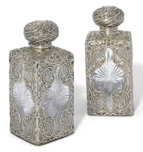 Pair of Henry Matthews Silver Mounted Scent Bottles