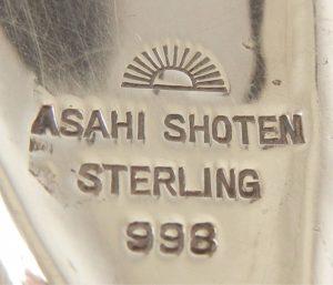 """Asahi Shoten Japanese Silver Makers Mark with """"Rising Sun"""" mark"""