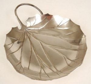 Asahi Shoten sterling silver leaf dish
