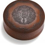 A FINELY CARVED BAMBOO VENEERED 'BAJIXIANG' BOX