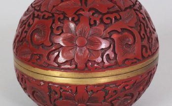 A CHINESE RED CINNABAR LACQUER BOX & COVER