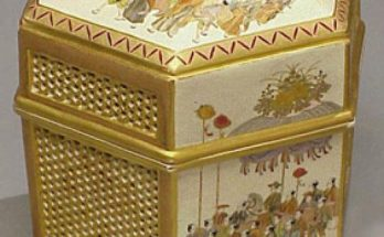 Fine Satsuma Hexagonal Reticulated Box and Cover