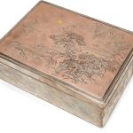 A silver and shibuichi box and cover by Katsuhide