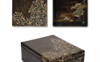A lacquered-wood stationery box (ryoshibako)