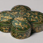 Indian nephrite jade box with gold, silver, and stone inlays