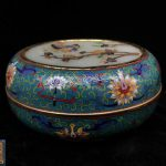 A CLOISONNE COVER BOX WITH QIANLONG MARK