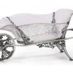 An Edwardian silver-mounted cut-glass wheelbarrow centerpiece, William Comyns & Sons Ltd
