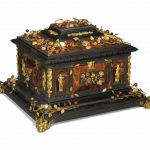 AN ITALIAN GILT-BRONZE AND HARDSTONE-MOUNTED TORTOISESHELL, EBONY, AND EBONISED CASKET