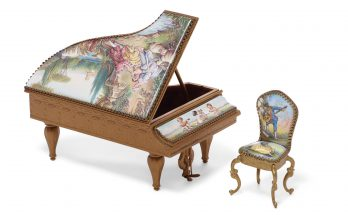 An Austrian gilt metal and enamel piano form jewelry box