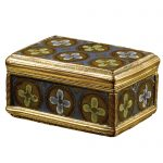 A small gilt-metal snuff box incorporating six Limoges enamel panels