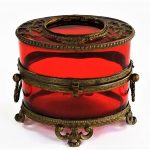 ANTIQUE FRENCH RUBY MOUNTED LADIES DRESSER BOX