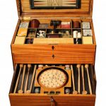 A Rare French Inlaid Satinwood Fitted Gaming Box on Stand